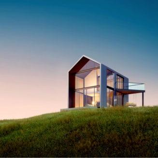 modern farmhouse on the hill