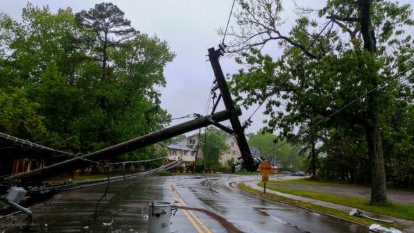 storm damage power line down
